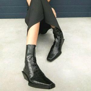 NWT ZARA | Animal Print Cowboy Heeled Ankle Boots